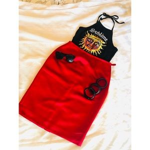 Red Polyester pencil skirt